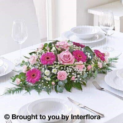 Pink Celebration Floral Centrepiece: Booker Flowers and Gifts