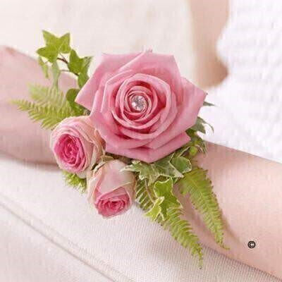 Pink Rose Wrist Corsage: Booker Flowers and Gifts